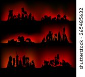 silhouettes destroyed cities on ... | Shutterstock .eps vector #265485632