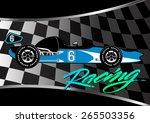 race car poster on checkered... | Shutterstock . vector #265503356