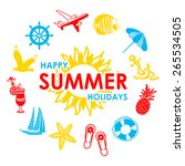 sun and 13 summer icons  | Shutterstock .eps vector #265534505