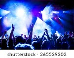 silhouettes of concert crowd in ... | Shutterstock . vector #265539302