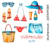 watercolor summer vintage set....