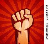 protest red logo. fist raised... | Shutterstock .eps vector #265555445