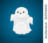 funny ghost on blue background.  | Shutterstock .eps vector #265556042