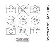 photo camera icon set in line... | Shutterstock .eps vector #265568852