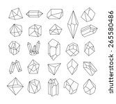 Set of geometric crystals. Geometric shapes. Trendy hipster retro backgrounds and logotypes. | Shutterstock vector #265580486