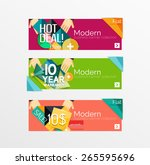 set of banners with stickers ... | Shutterstock .eps vector #265595696