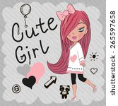 cute girl with red hair and a... | Shutterstock .eps vector #265597658