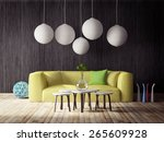 3d render. modern interior room ... | Shutterstock . vector #265609928