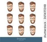 set of nine different emotions... | Shutterstock .eps vector #265655348