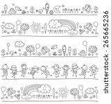 pattern for children with cute... | Shutterstock .eps vector #265665236
