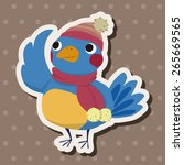 winter animal bird flat icon... | Shutterstock .eps vector #265669565
