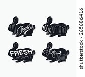 rabbits set. vintage vector... | Shutterstock .eps vector #265686416