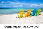 caribbean beach chairs | Shutterstock . vector #265695092