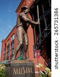 "Small photo of Statue of ""Stan the Man"""" Musial shows him batting left handed outside of the new Busch Stadium, home of the 2011 World Series Champions, St. Louis Cardinals, St. Louis, MO."