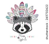 raccoon aztec style  hand drawn ... | Shutterstock .eps vector #265732622