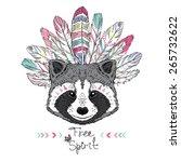 Stock vector raccoon aztec style hand drawn animal illustration native american poster t shirt design 265732622