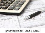 business graph  calculator   pen | Shutterstock . vector #26574283