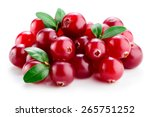 Cranberry With Leaves Isolated...