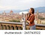 beautiful girl impressed view... | Shutterstock . vector #265763522