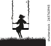 Young Girl Sitting On The Swing ...