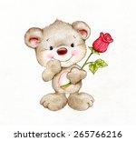 Cute Teddy Bear With Rose