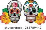 Vector Sugar Skulls And Roses