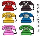 vector set of color retro... | Shutterstock .eps vector #265790612