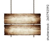 wood sign from a chain isolated ... | Shutterstock . vector #265792592