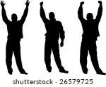 happy strong man silhouettes | Shutterstock .eps vector #26579725