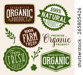 set of organic and farm fresh... | Shutterstock .eps vector #265805426