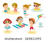 children playing on the beach | Shutterstock .eps vector #265811492