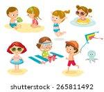 children playing on the beach | Shutterstock .eps vector #265811492