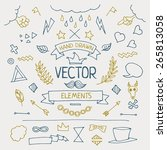 set of different hand drawn...   Shutterstock .eps vector #265813058