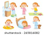 daily routines for kids | Shutterstock .eps vector #265816082