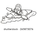 kayak and girl  coloring page ... | Shutterstock .eps vector #265873076