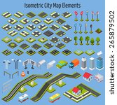 isometric city map road and... | Shutterstock .eps vector #265879502