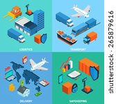 logistics isometric set with... | Shutterstock .eps vector #265879616