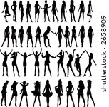 sexy woman silhouettes   vector | Shutterstock .eps vector #2658909