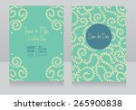 two floral wedding cards ... | Shutterstock .eps vector #265900838