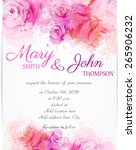 Stock vector wedding invitation template with abstract roses on watercolor background 265906232