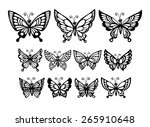 Stock vector set of silhouette wonderful butterflies vector illustration eps 265910648
