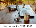 laptop computer  phone and... | Shutterstock . vector #265914368