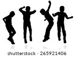 vector silhouette of a boy on a ... | Shutterstock .eps vector #265921406