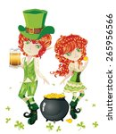 cartoon leprechaun boy and girl ... | Shutterstock .eps vector #265956566