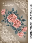 vintage flower card with roses. ... | Shutterstock .eps vector #265958918
