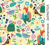 lovely childish pattern of... | Shutterstock .eps vector #265967525