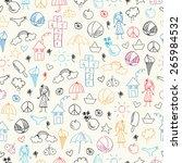 summer doodles. seamless pattern | Shutterstock .eps vector #265984532