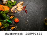 preparing fresh seafood in the... | Shutterstock . vector #265991636