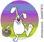 easter bunny walks with a... | Shutterstock .eps vector #266007872