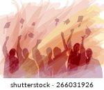 graduation in silhouette in... | Shutterstock .eps vector #266031926